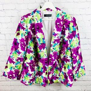 Kasper Lime Green Blue & Purple Floral Blazer 14W